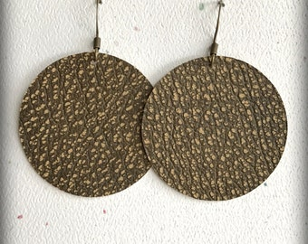 Leather Circle Earrings; Toffee Brown Leather Earrings; Lightweight; Statement Earrings