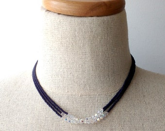 Deep navy blue necklace,crystal swarovski and seed bead, dark blue necklace,chic, multistrand,choker and long necklace,bridesmaid gift