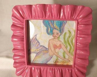 Pink Mermaid, ooak, one of a kind, mermaid, painting, framed art