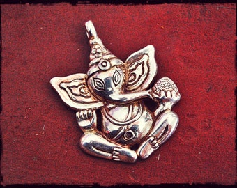 Ganesha Pendant - Solid Sterling Silver Ganesha Amulet - Ganesh Silver Pendant - Ganesha Jewelry