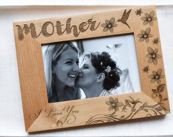 Floral Frame Mother of the Bride Gift Frame from Daughter, from Son. Mothers Day From Daughter. Mom Gifts Photo Frame Wood.