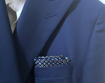 SILK Pocket Square with Multi Shades of Horizon Cornflower Blue and Navy and Charcoal Grey and Black Squares