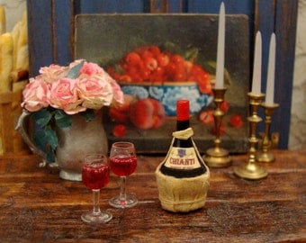 Bottle of Chianti WIne 1:12 Scale Miniature Dollhouse Accessory