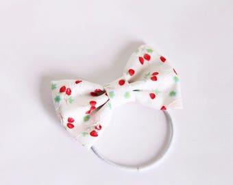 Cute Strawberry Print Fabric Bow Hair Tie
