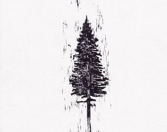Black nature relief print