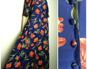 80s VISCOSE navy blue + rust red TULIP print maxi dress tea dress u.k. 12 - 14 M
