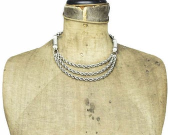 Heavy Silver Chain Necklace, Silver Chain Triple Strand Necklace, Thick Silver Chain Necklace, Silver Rope Chain Necklace