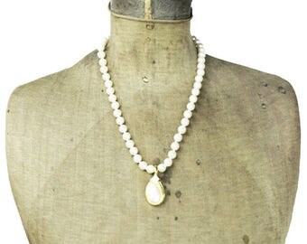 Pearl Necklace with Large Gold Pendant, Pearl Necklace with Rhinestones, Rhinestone and Pearl Necklace, Rhinestone Pearl Necklace