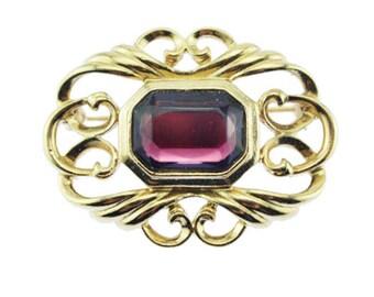 Vintage Rhinestone Brooch, Purple Rhinestone Brooch, Gold and Purple Rhinestone Brooch, Large Rhinestone Pin, Purple and Gold Brooch