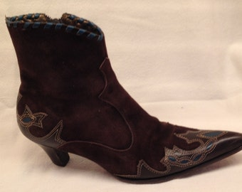 Ankle Leather Boots Size 7 Cowboy Western