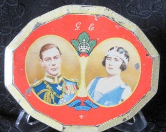 English Royalty Tin King George Queen Elizabeth Tin Commemorative Royal Visit 1939 Container British