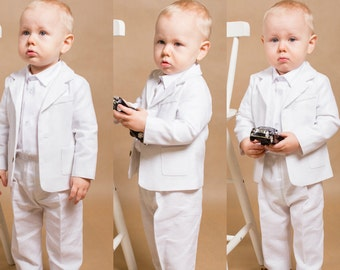 4 pcs. linen boy outfit Toddler outfit Baptism boy outfit Baby linen suit Ring bearer suit Christening boy outfit Linen baby gown Bodysuit