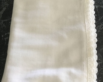 White Muslin swaddles/Wrap with white silk hand crocheted edging.