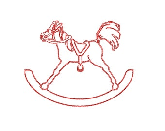 rocking horse redwork embroidery design