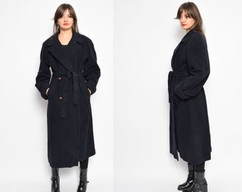 Vintage 80's Oversized Button Wool Coat / Navy Blue Wool Maxi Coat - Size Small