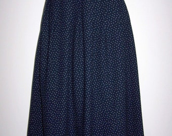 Laura Ashley vintage wool-cotton blend, navy-cream polka dot full pleated skirt, size 12 UK