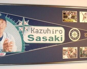 Seattle Mariners Kazuhiro Sasaki Player Pennant & Cards...Custom Framed!