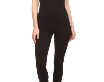 Full Length Bodysuit, Sleeveless Bodysuit, Body Leotard, Black Leotard,Stretch Bodysuit,Black Bodysuit, Solid Bodysuit, Women's Bodysuit