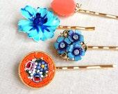 Repurposed vintage earrings, hair pins, white, floral, flower, hair accessory, wedding, bridesmaid, gift, hair pins, bridal hair pins