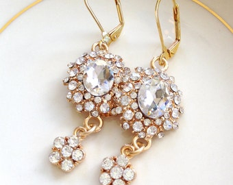 Crystal and gold bridal earrings, rhinestone, jewelry, bridesmaid, long earrings, Old Hollywood, statement, bridal, glamorous, crystal, gold