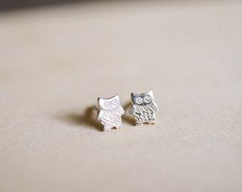 Owl Sterling Silver Earring Studs