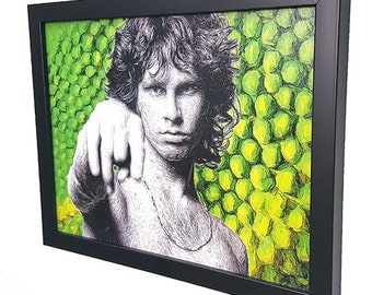 Jim Morrison The Doors Lizard King  - Black Framed Wall Art Giclee Canvas Paint,Painting, Poster,Print- Great Rock'n'Roll Home Decor