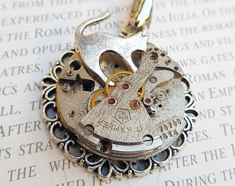 Steampunk Cat Necklace Pendant -Watch Part Necklace- CatWoman Necklace Gift for Steampunk Lovin