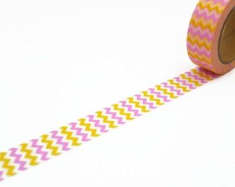 Chevron Washi Tape in Pink and Yellow - Zig Zag Masking Tape