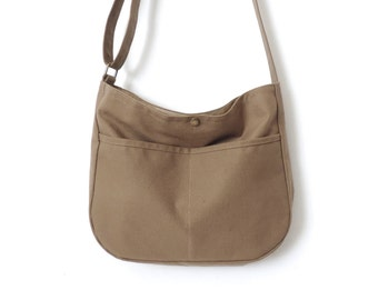 Canvas Hobo Bag Crossbody Bag Slouch Bag Purse Tan SALE