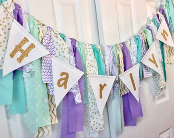 Personalized Fabric + Bunting Name Banner in Lavender Purple, Mint / Teal / Seafoam Green & Gold with Lace and Ribbon Accents, Mermaid Theme
