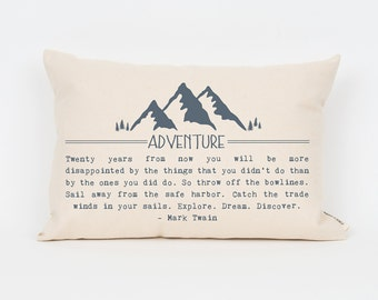 Custom Quote Pillow, Unique Gifts for Sisters, Decorative Pillow, Custom Decor, Wanderlust, Mountains, Inspirational Quote, Unique Decor
