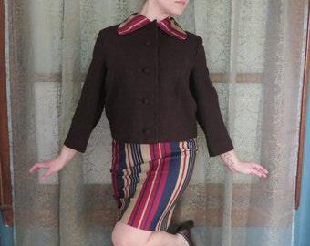1960s Brown Wool Jacket Pendleton Boxy Jacket 60s Wool Blazer Mad Men Audrey Hepburn 60s Wool Jacket Preppy Wool Jacket Swing Jacket