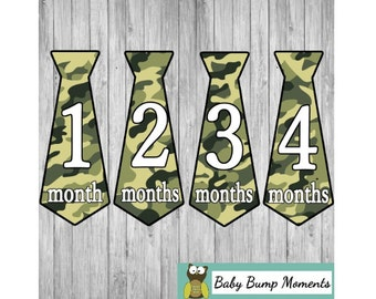 Baby Boy Tie Stickers, Tie Month Stickers, Monthly Milestone Stickers, Camo Camouflage