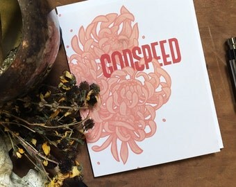 Godspeed Floral Blank Greeting Card | Floral Stationary | Typographic Card | Good Luck Card