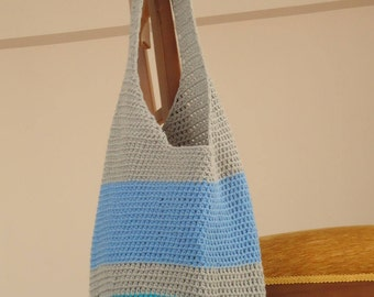 Crochet tote bag , crochet shopping bag , crochet retro  tote , crochet beach bag ,blue and gray crochet tote bag