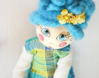 Paper clay and felt art doll, turquoise crochet dressed, poseable young girl puppet, hygge decor for your cozy home, pastel Aqua budoir doll
