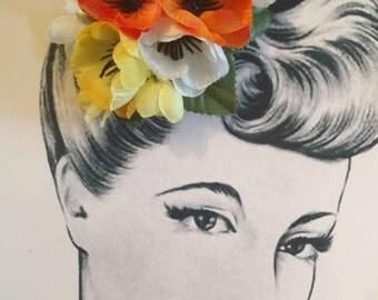 Spring Sunrise Pin Up Hair Flower