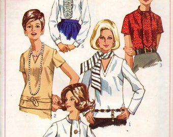 7870 Simplicity Sewing Pattern Choice Neckline Blouse Choice Sleeves Size 12 34B Vintage 1960s