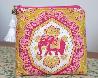Pink Gold Elephant Makeup Bag