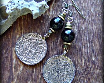 Boho Earrings / Boho Jewelry / Gypsy Coin Earrings / Hippie Hoop Earrings / Tribal Earrings / Ethnic Earrings