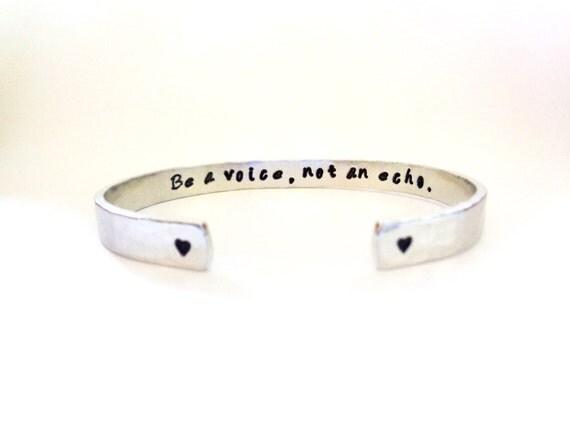 Secret Message Cuff Bracelet, Be a Voice, not an Echo, Hammered Texured. Customizable