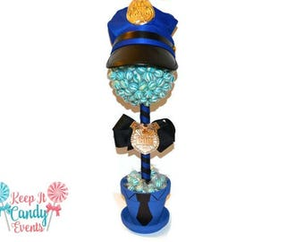 Policeman Lollipop Topiary, Police Candy Centerpiece, Candy Buffet Police Theme, Cop Candy, Boys Birthday Ideas, Police Party Decoration
