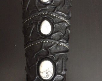 Medieval Sorcerer Wizard Druid Warrior Queen Witch Leather SINGLE Forearm Bracer with White Howlite Gemstones