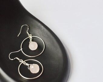 Hoop Earrings, Rose Quartz Earrings, Circle Earrings, Bridesmaid Gift, Mom Gift, Wedding Earrings, Minimalist Little Silver Circle Earrings