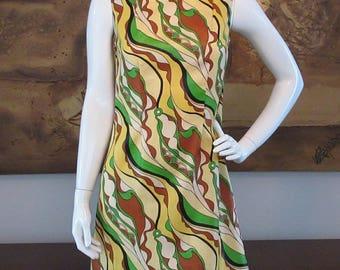Jute psychedelic print shift dress