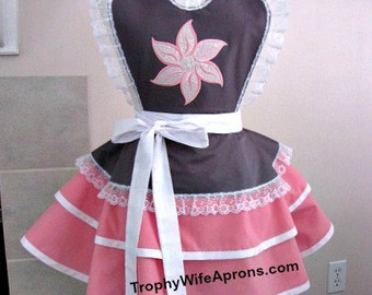 Apron # 4050 - Grey and pink ruffled retro apron