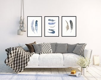 Set of 3 art prints, Blue and brown feather paintings, Danish minimalistic feather wall art, Coastal home decor, Buy 2 and get 1 free