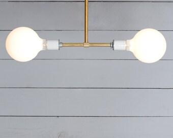 Brass Pendant Light - Double Bare Bulb Lamp