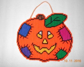 Halloween Pumpkin Wall hanging- Plastic canvas, jack-o-lantern, Pumpkin