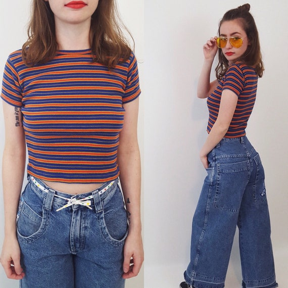 90's Striped Orange Crop Top - XS Cropped Short Sleeve Basic Tee - Extra Small Stripe Baby Tee - 1990s Grunge Style Everyday Fashion Shirt